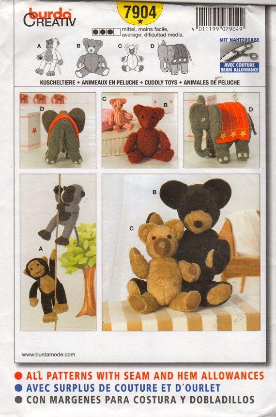 Burda 7904 Stuffed Animals Sewing Pattern Monkey Bear Elephant 17 to ...