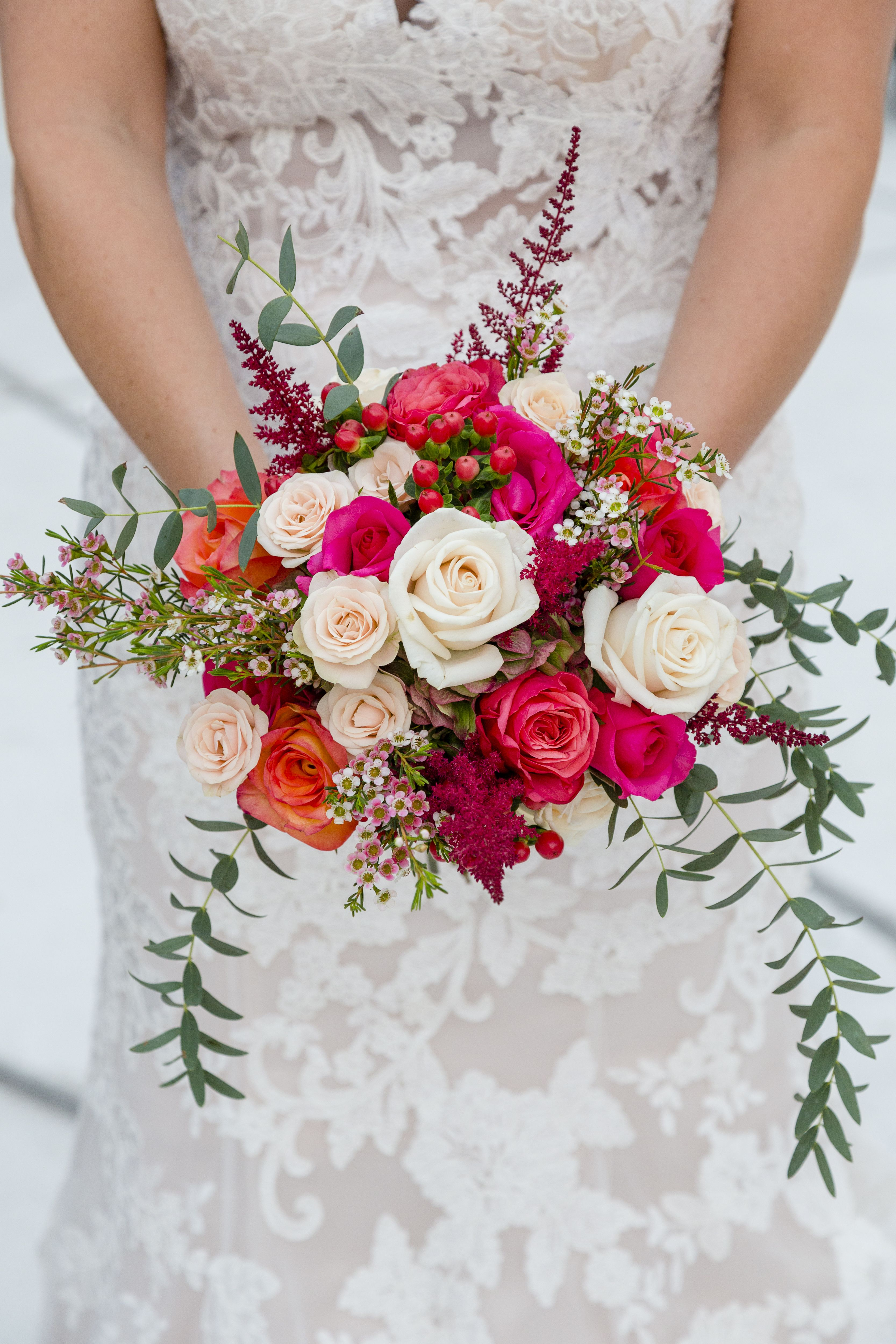Caitlin Carried This Incredible Hot Pink Bouquet When She Eloped
