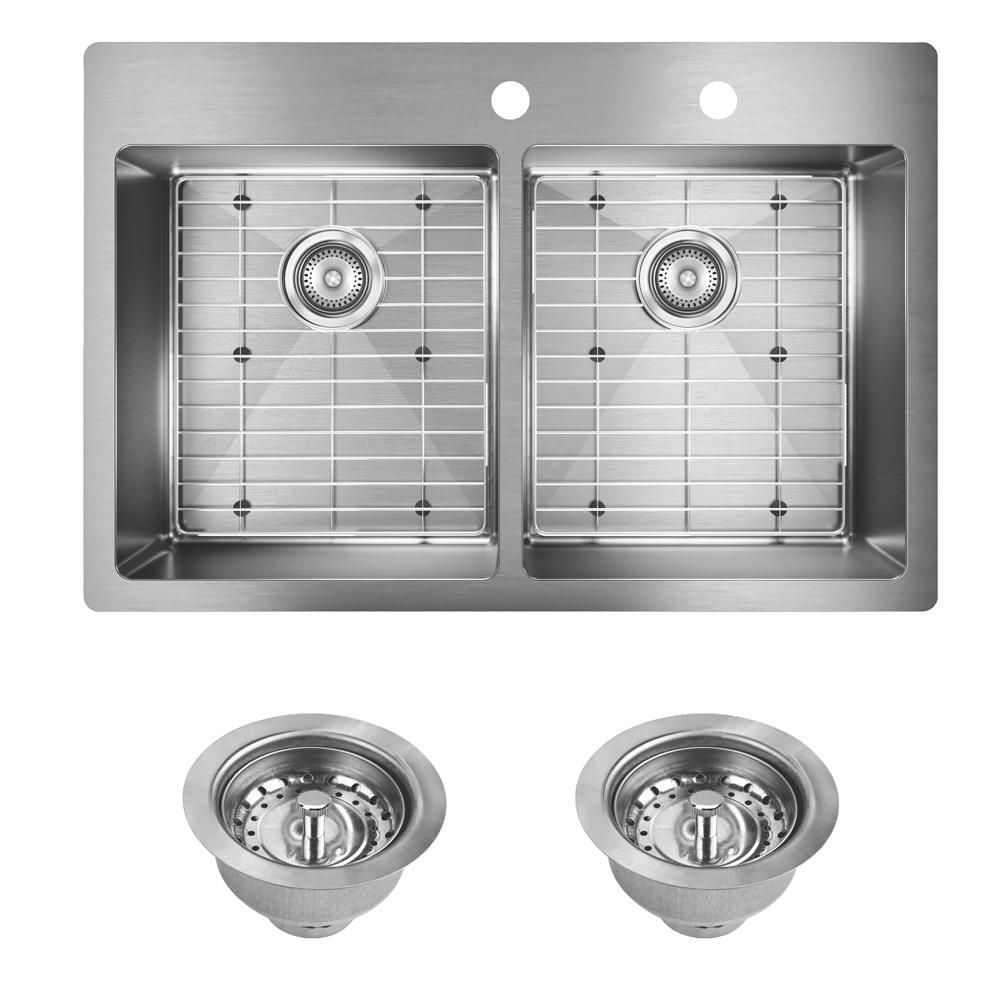 Elkay Crosstown Drop In Undermount Stainless Steel 33 In 2 Hole Double Bowl Kitchen Sink With Bottom Grids And Drains Vbthd174 The Home Depot Double Bowl Kitchen Sink Elkay Sink