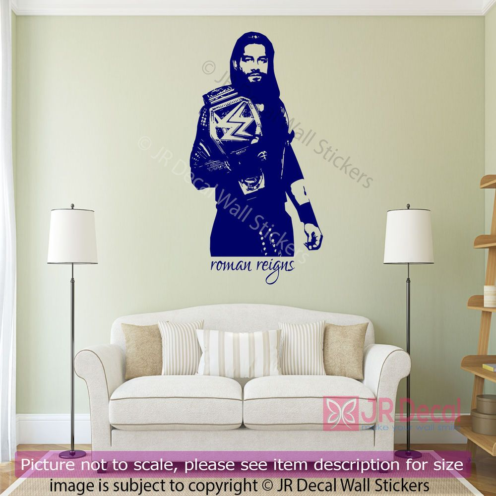 Roman Reigns Wrestling Figure Wall Sticker Wwe Champion Decals