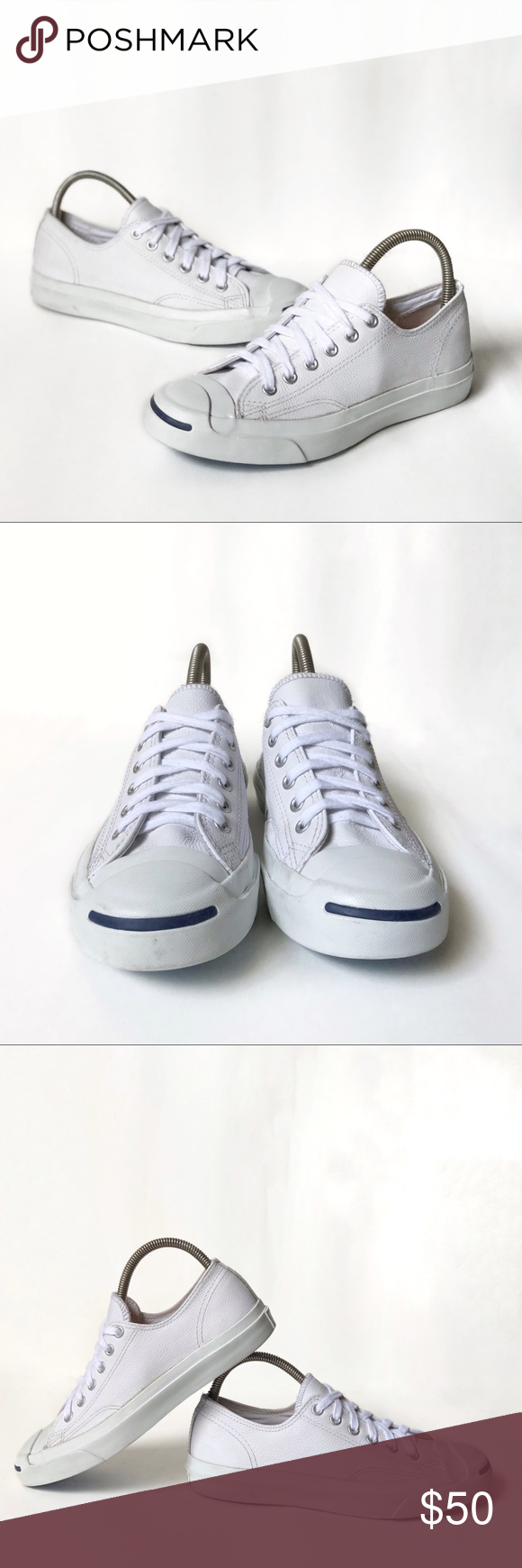 a23feb9428c9 Converse Jack Purcell white leather shoes Converse Jack Purcell Leather Ox  In White navy 1s961 Size Mens 6.5 Womens 8 They are used but still have a  lot of ...