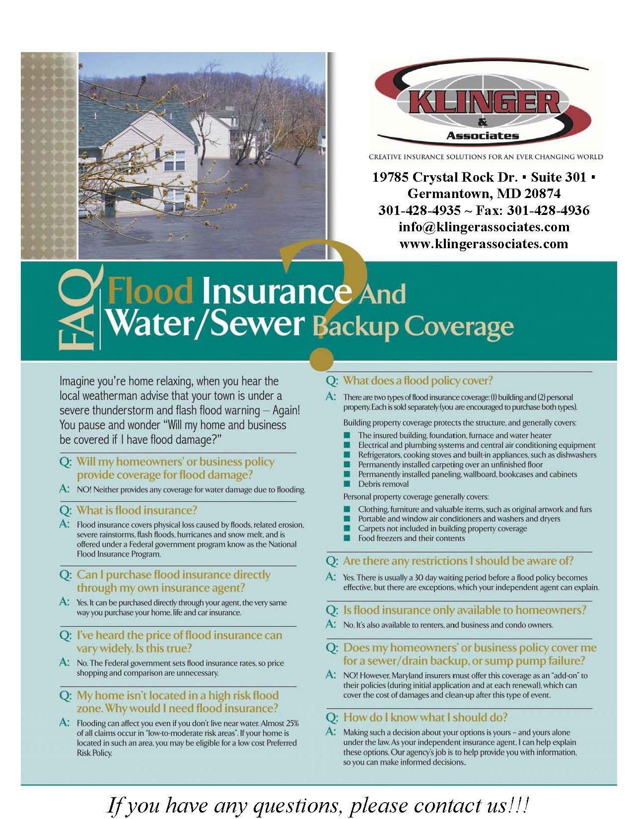 Faq Flood Insurance And Water Sewer Backup Coverage Flood