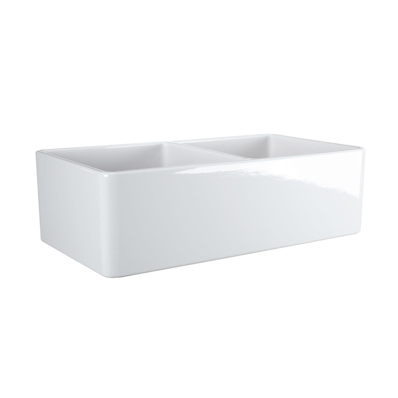 33 Reinhard Double Bowl Fireclay Farmhouse Sink In White
