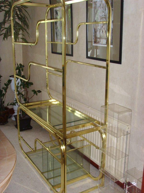 Brass & Glass Freestanding Wall Unit | Glass shelves, Shelves and Glass