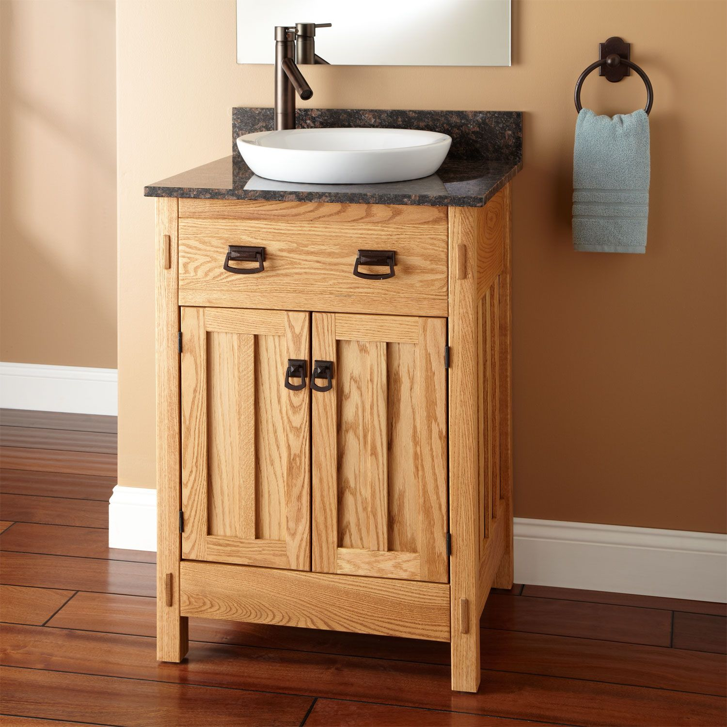 small sink vanity for small bathrooms%0A Find this Pin and more on Master bath ideas  Mission Hardwood Vanity with  SemiRecessed Basin