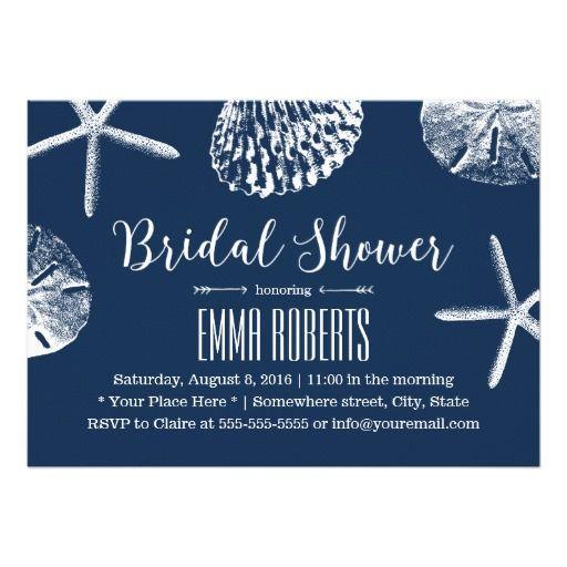 Beach wedding bridal shower navy blue seashells invitation wedding navy blue beach theme seashells bridal shower filmwisefo