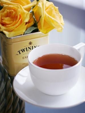 twinings tea and yellow roses