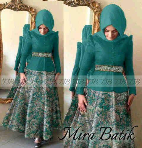Busana pesta muslim modern mira batik tosca | Baju Gamis ...
