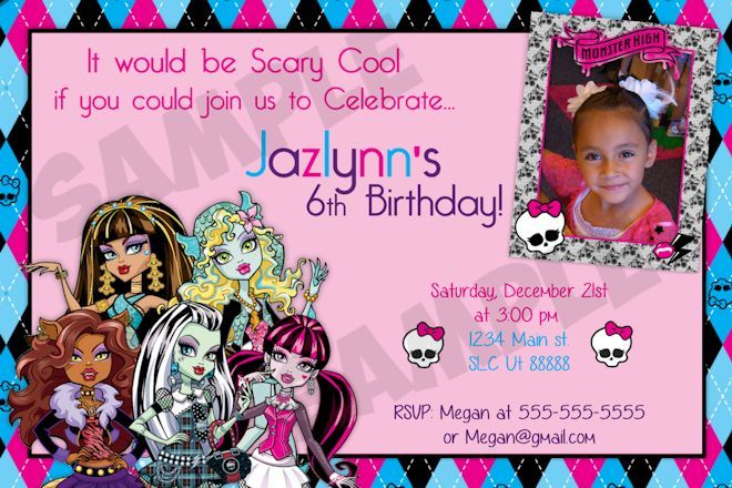 17 Best images about Monster High Birthday Invitations on – Monster High Birthday Invites