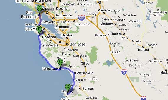 De Monterey A Carmel Pela Mile Drive Viagem Pinterest - Mapa california