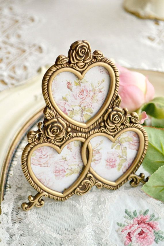 Beautiful Vintage Triple Heart Gold Picture Frame | My Jennelise ...