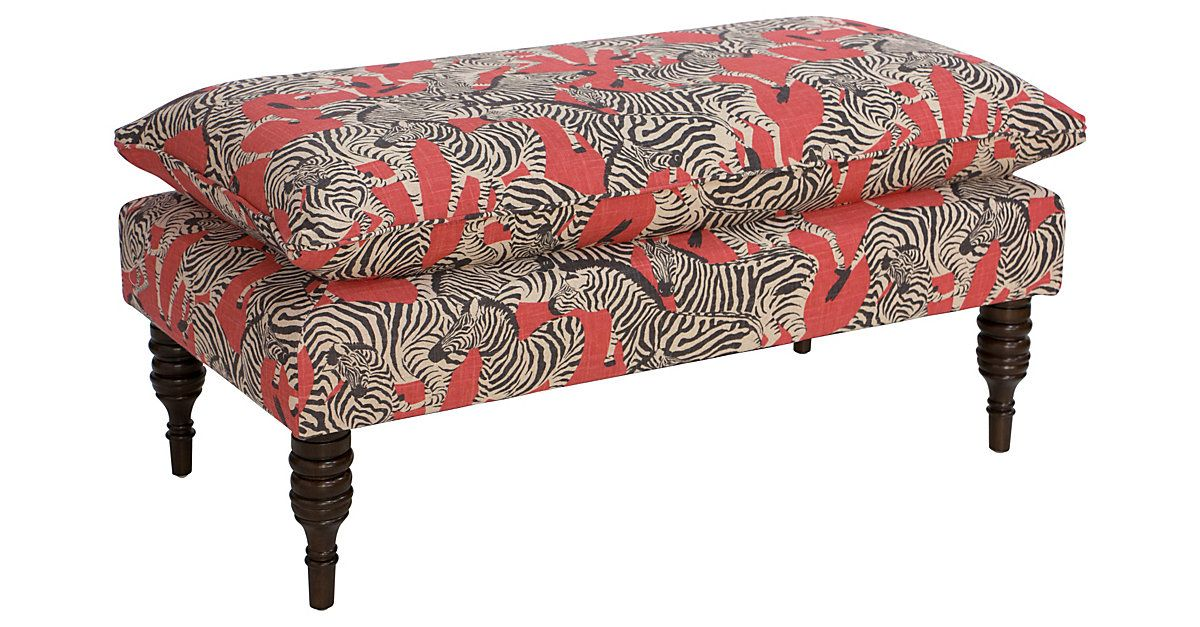 Resting On Finely Turned Pine Legs This Zebra Print Pillow Top Bench Makes An Living Room Bench Zebra Furniture Furniture