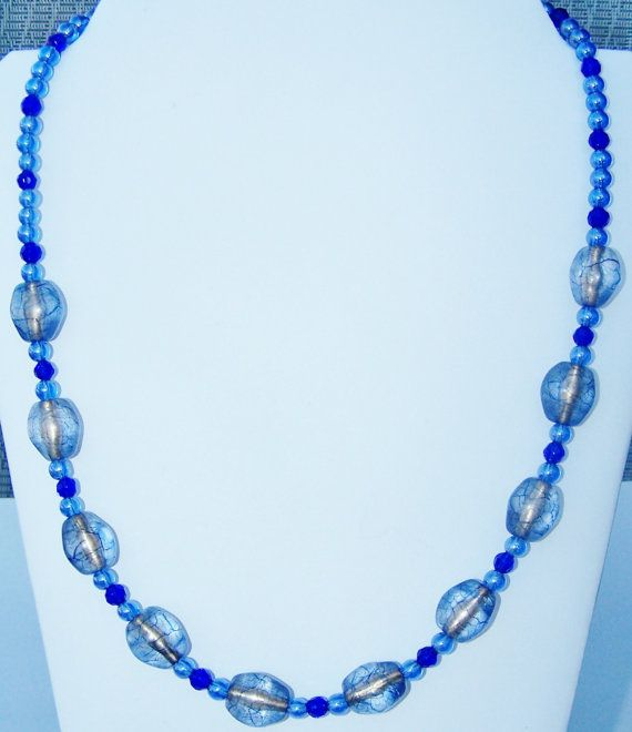 Blue Glass And Acrylic Necklace By Beadhobby On Etsy 18