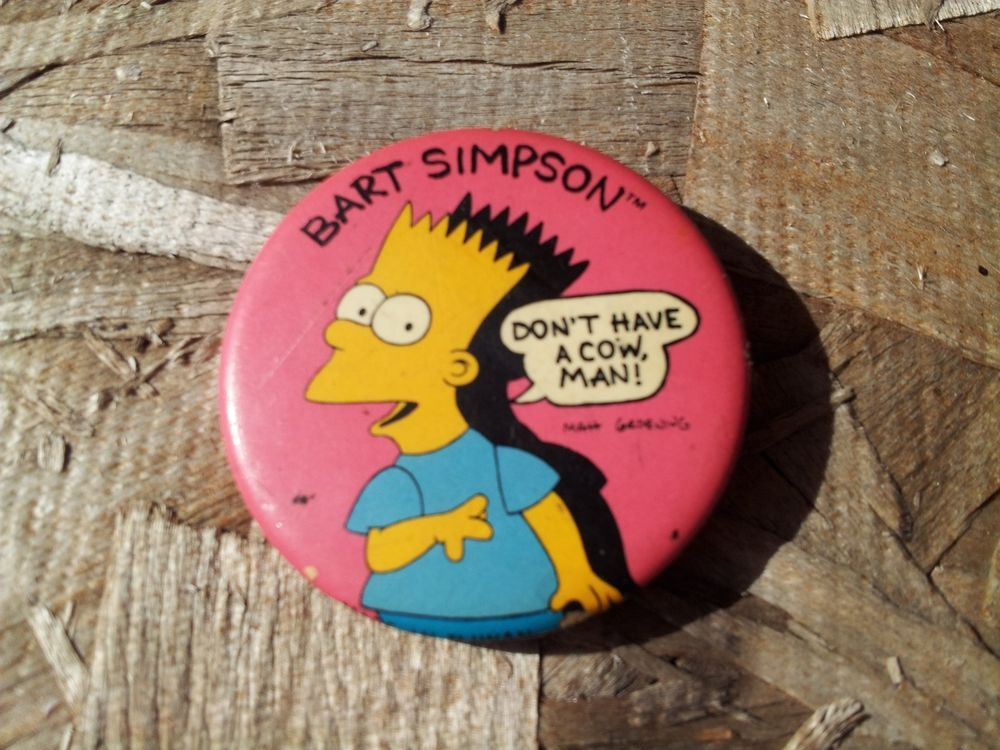 "original 1989 Simpson's Bart  button pin pinback-1.5"""
