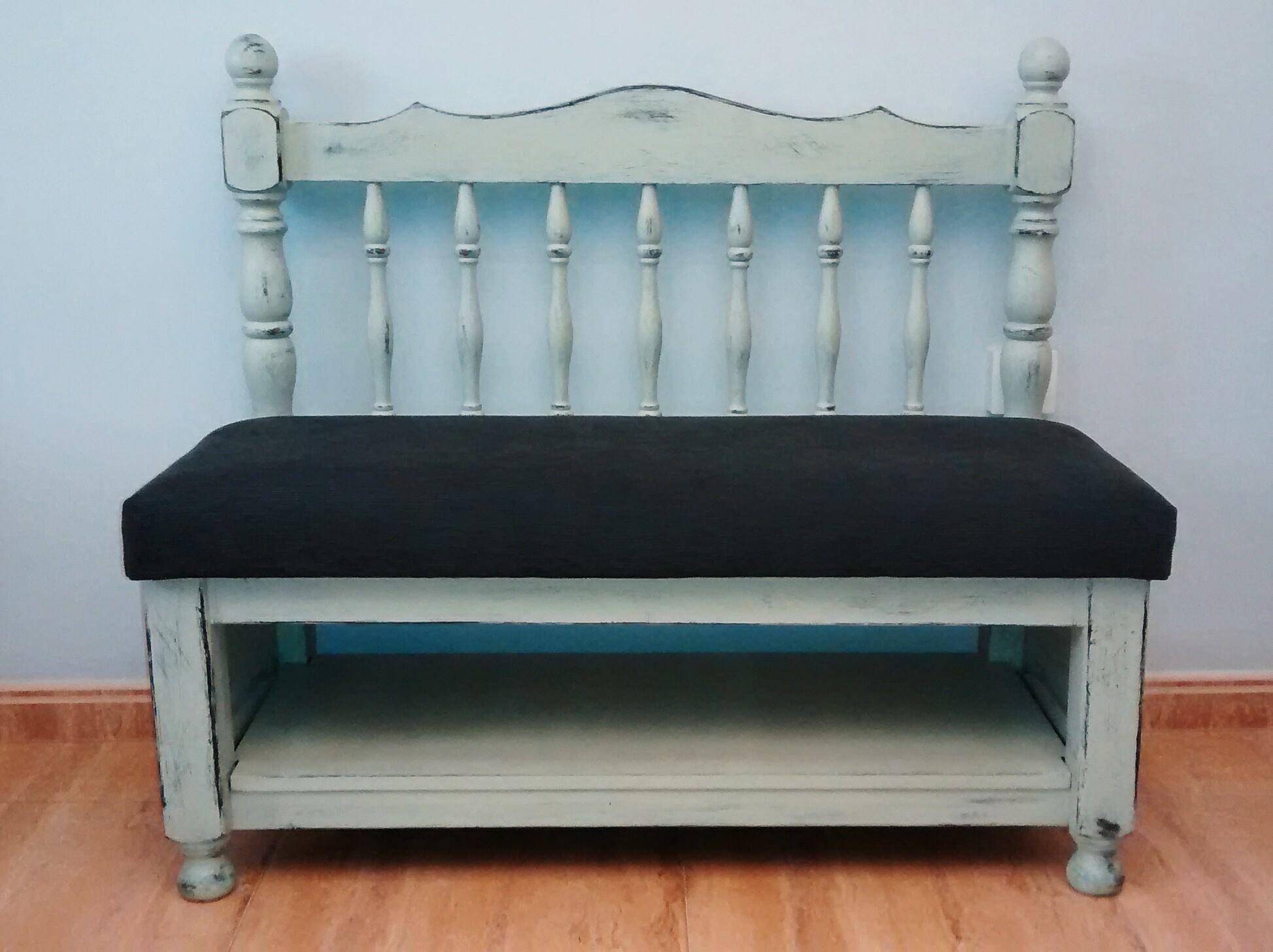 Banco reciclado con un cabecero y pie de cama 101 x 45 x - Como tapizar un cabecero ...