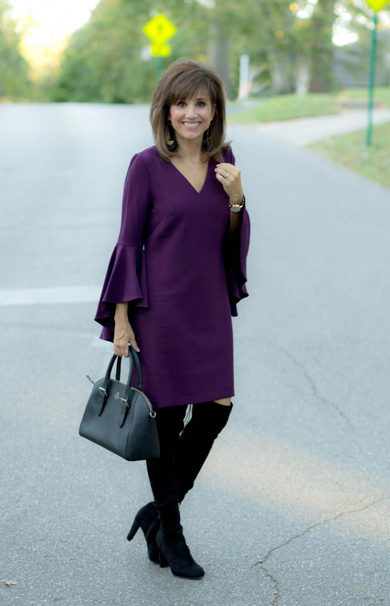 This dress is an Eliza J dress and it's a little dressier than what I usually wear to church but it would be perfect for a fall wedding. #whattowearover40fashionover40shirts #churchoutfitfall