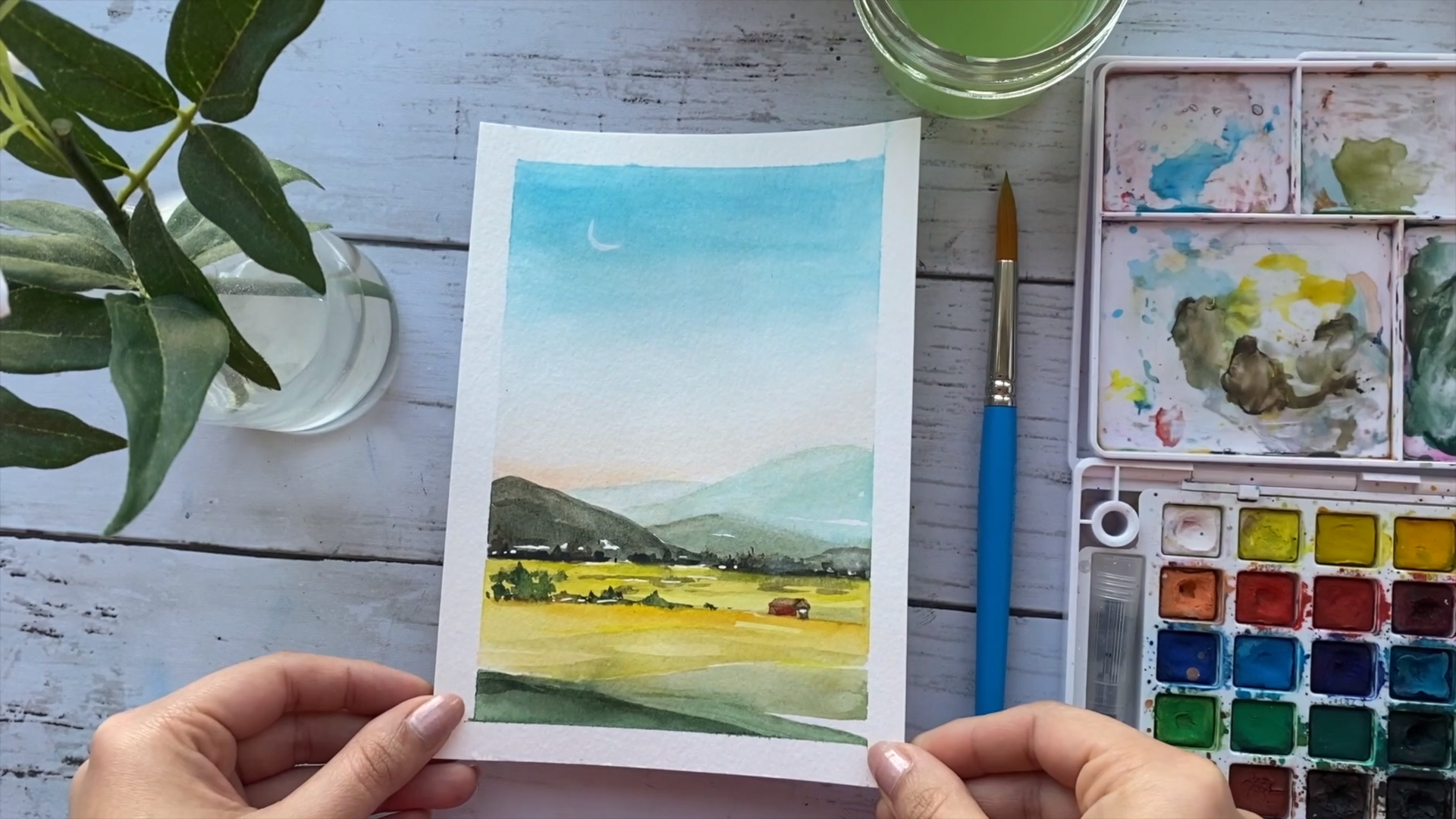 Watercolor Landscape Tutorial For Beginners | Easy Watercolor Painting