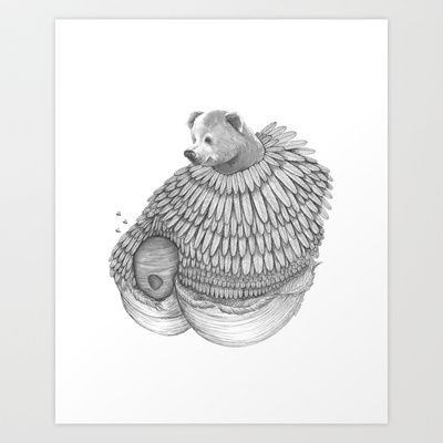The Bear and the Bees- Feathered Art Print by Jess Polanshek