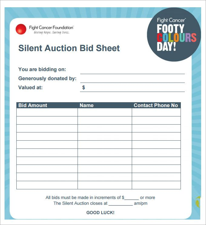 Silent Auction Bid Sheet Template   Free Word Excel Pdf