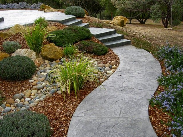 Path to second level in a sloped backyard cali backyard for Garden getaway designs