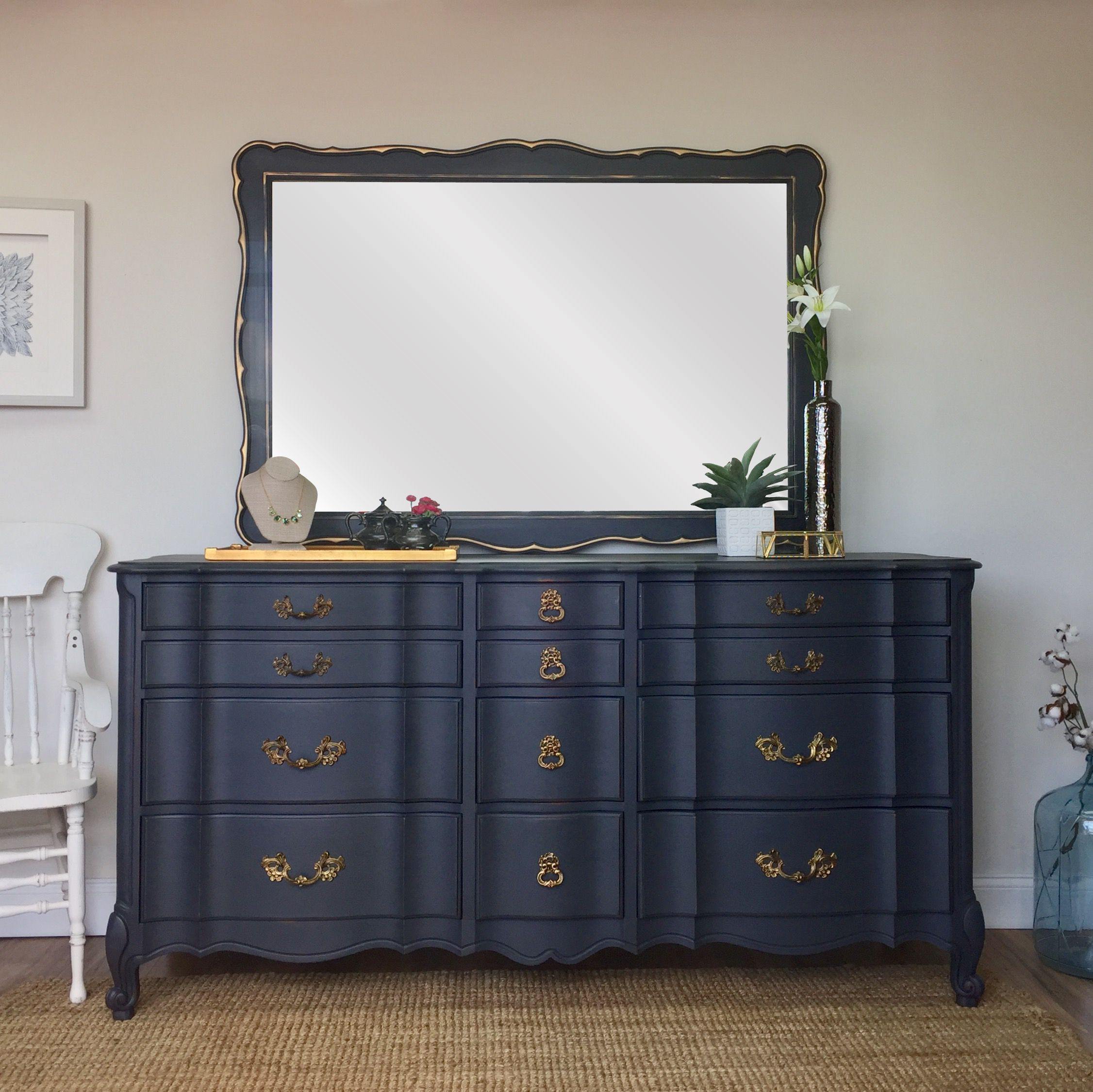 French Provincial Dresser Dresser with Mirror, Mid