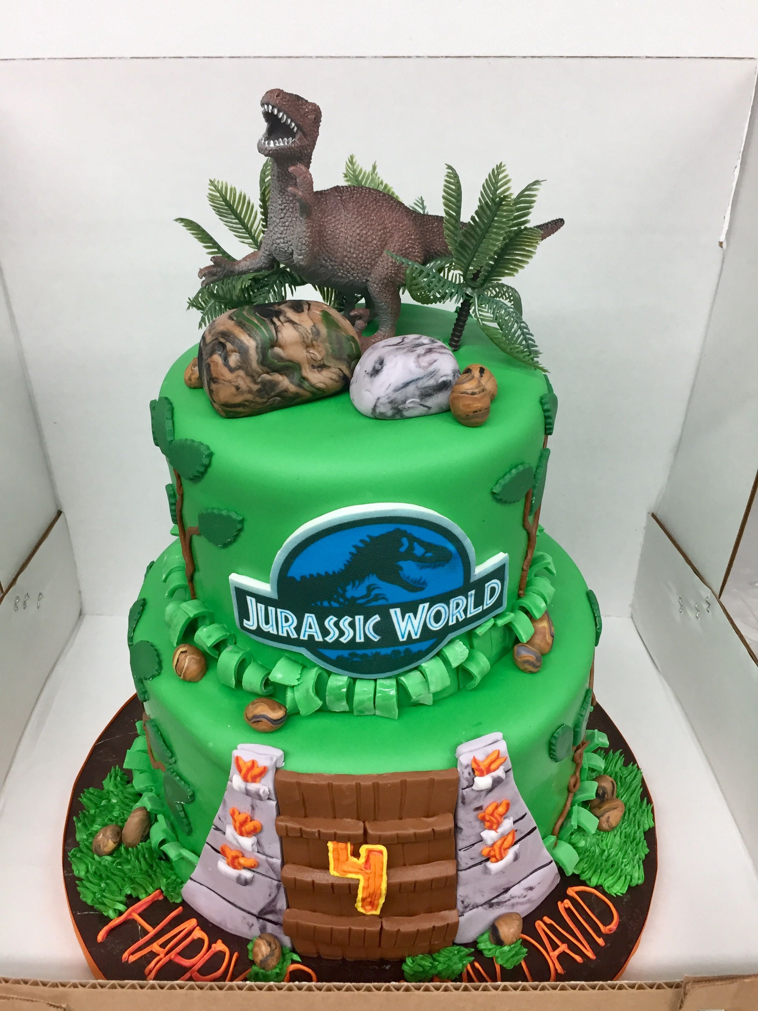 Jurassic Park Cake With Images Dinosaur Birthday Beautiful