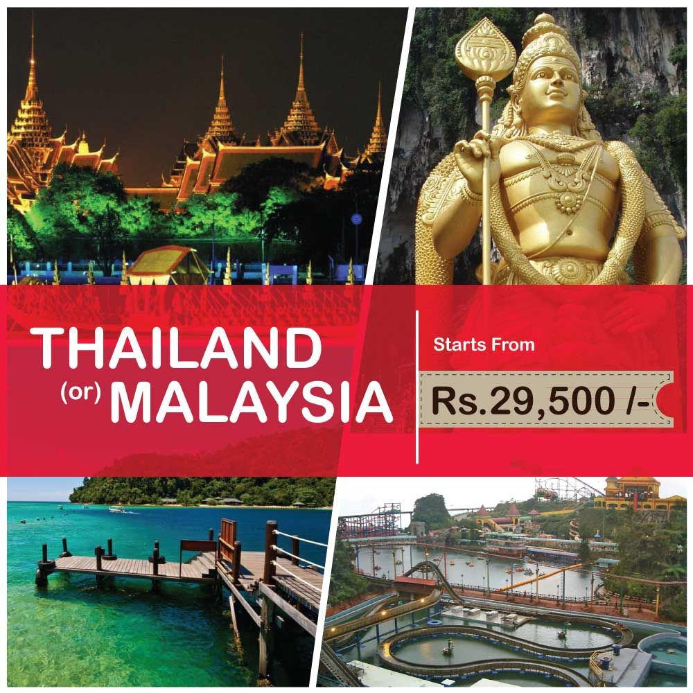 Shakthi's WEEKEND TRAVEL SALE!!! Book your Holiday to THAILAND OR MALAYSIA @29,500/-per person. For Enquiries & Bookings call: 9940010290/ 9941923455 More info - www.shakthitoursandtravels.in
