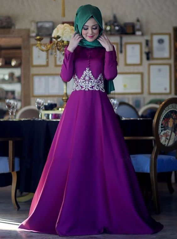 c0f6a43aa9b Purple Long Sleeve Muslim Evening Dresses 2017 Hijab Islamic Dubai Abaya  Kaftan Beaded High Neck A-Line Evening Gown Prom Dress