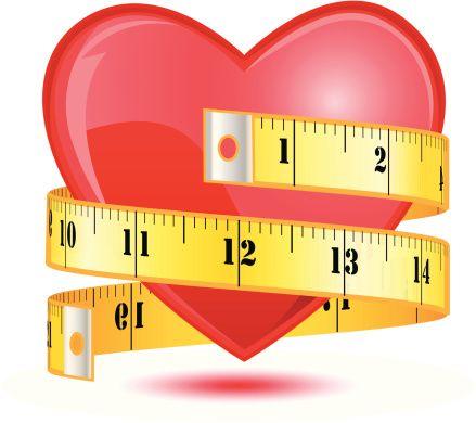 Love heart with a tape measure - VECTOR - ilustração de arte em vetor