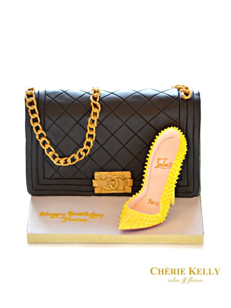 631f9fc4cb13 Chanel Boy Bag Handbag Cake with Yellow Christian Louboutin Pigalle Spikes  High Heel Shoe Cherie Kelly London