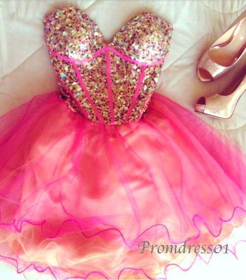 2015 cute rose sweetheart strapless sparkly beaded organza short ...