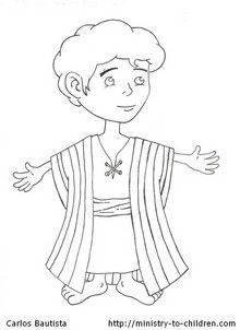 Coloring pages joseph and his coat ~ The free coloring page shows a young Joseph and his ...