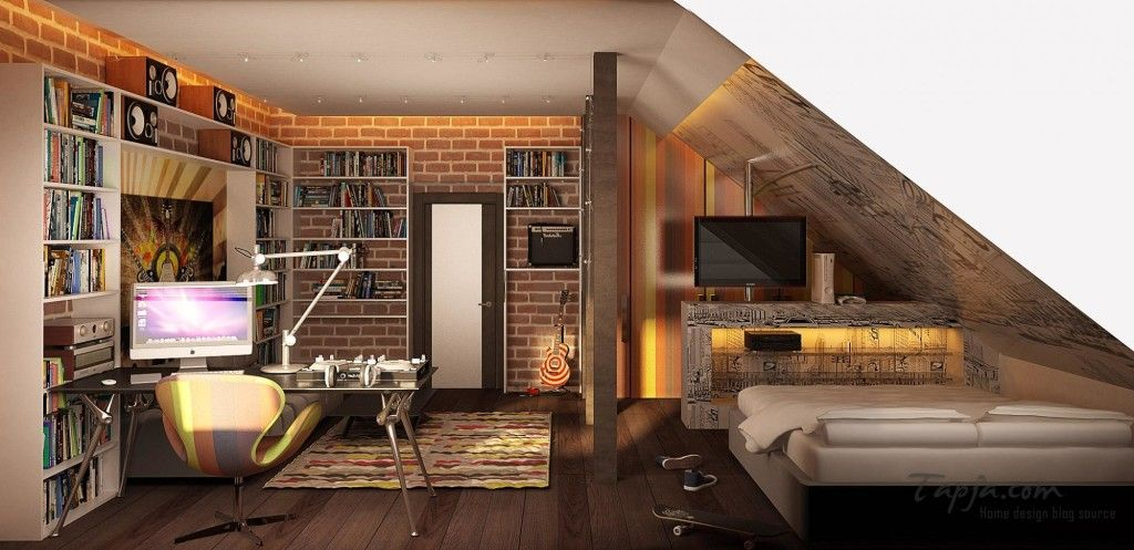 attic teenager bedroom design ideas with sloping ceiling with modern computer desk plus small library attic teenager bedroom design ideas with sloping ceiling with modern