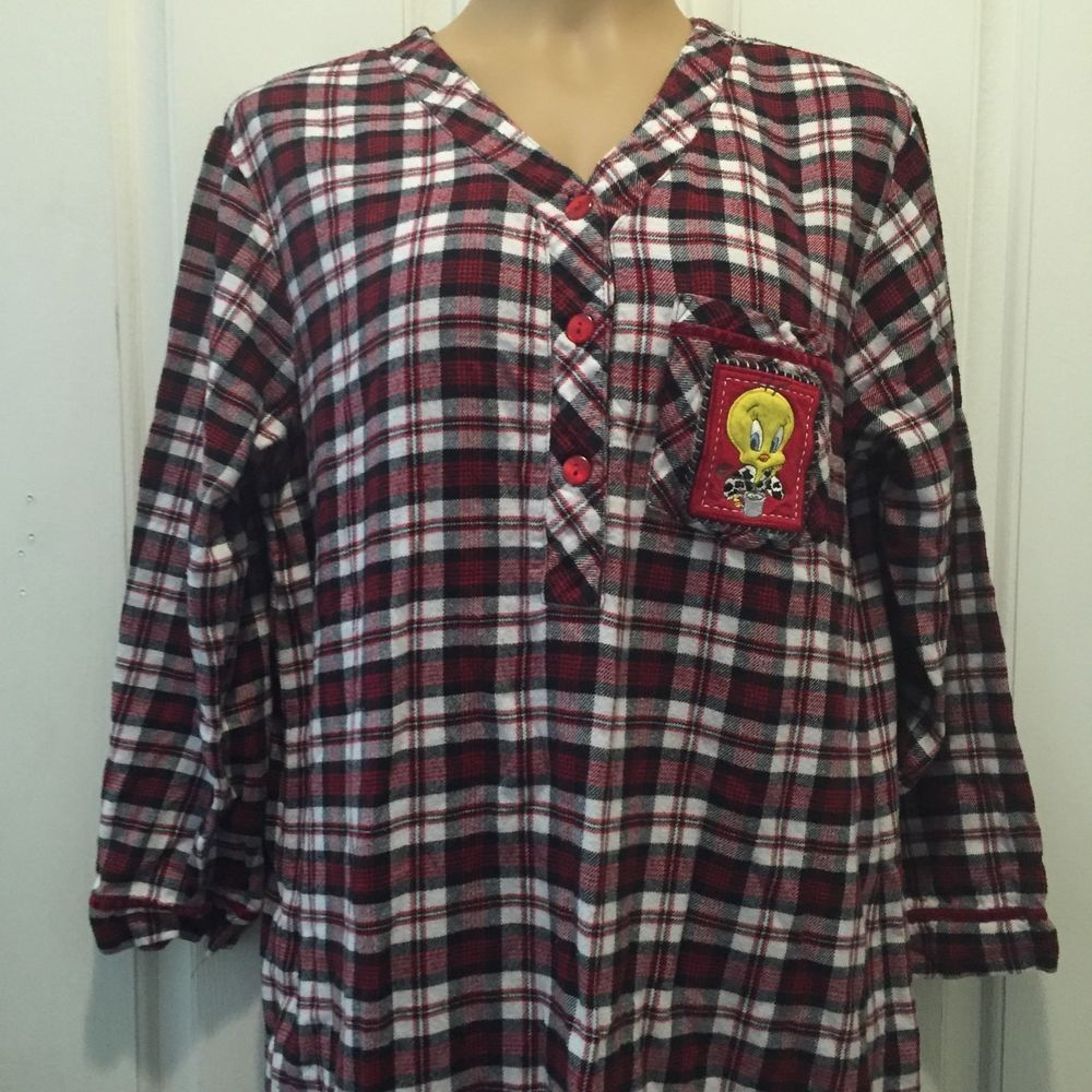 Red flannel nightgown  s Flannel Long Sleeves  Cotton Tweety Bird Plaid Nightgown VTG