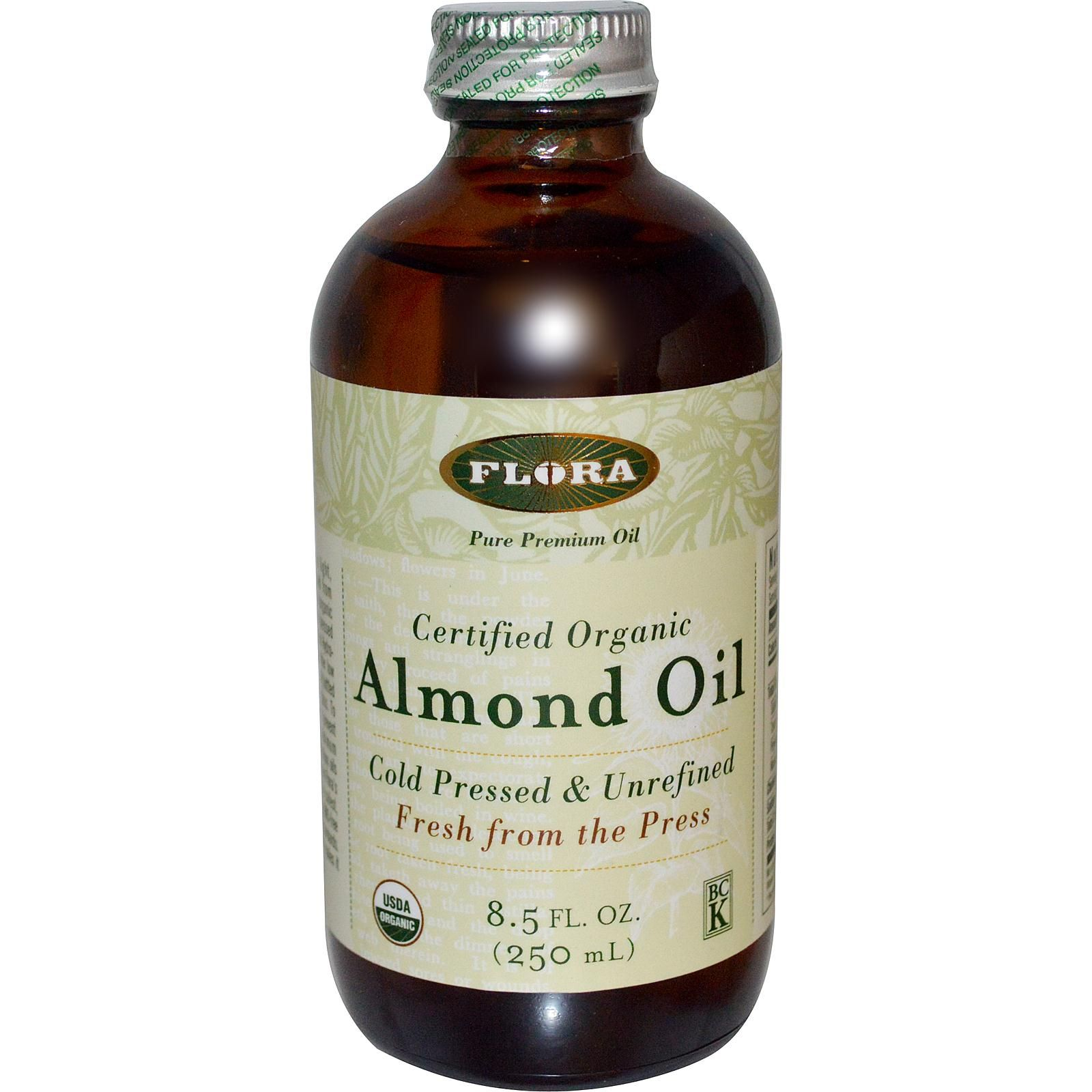 Flora, Certified Organic Almond Oil, 8.5 fl oz (250 ml) - iHerb.com