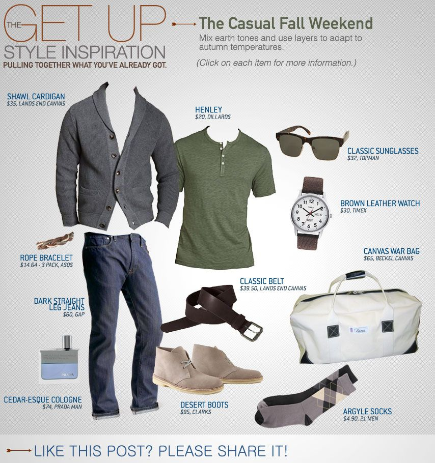 The Casual Fall Weekend | gray cardigan, shoe color, green t, watch style and belt. Guys from all the pixs I've seen invest in a light gray and dark gray cardigan it works w/ a lot of different styles.