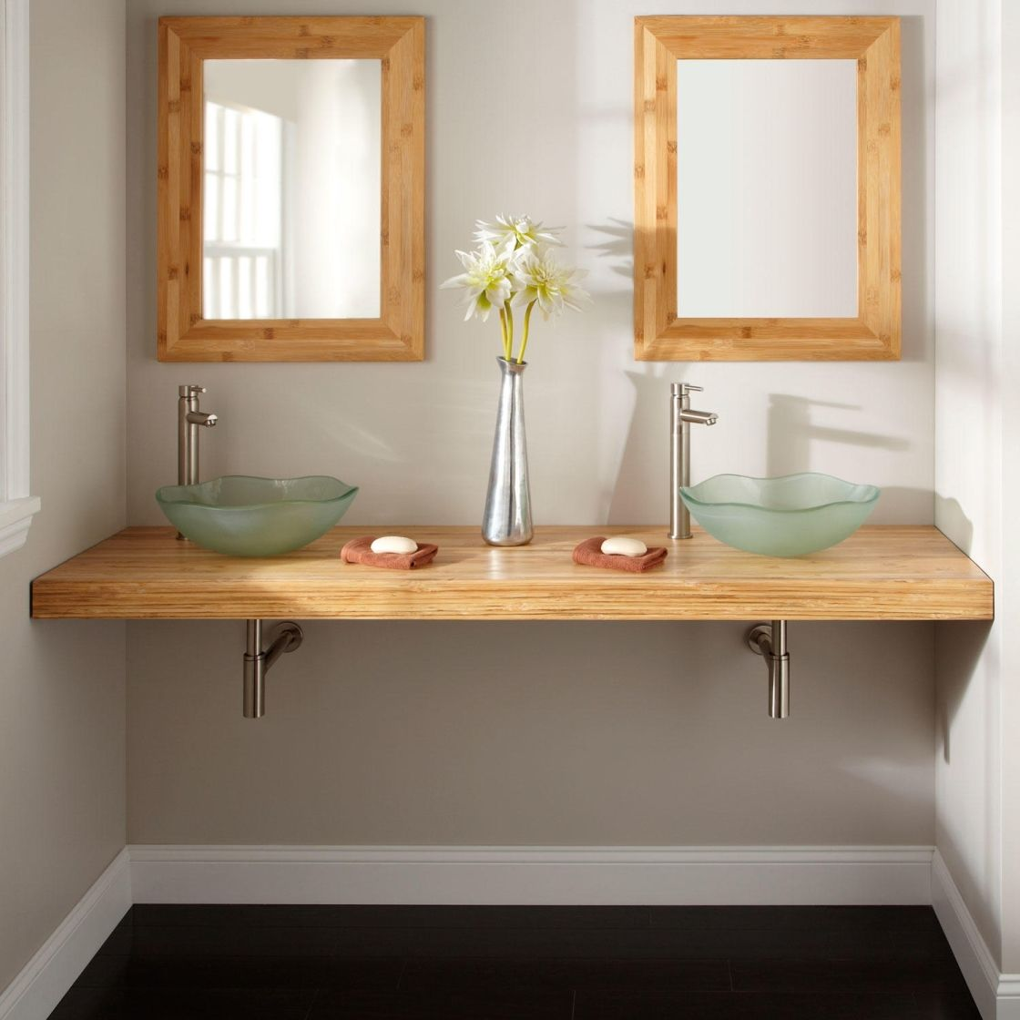 Diy Custom Floating Bathroom Vanity Design In Solid Natural Bamboo With Aqua Glass Vessel Bowl