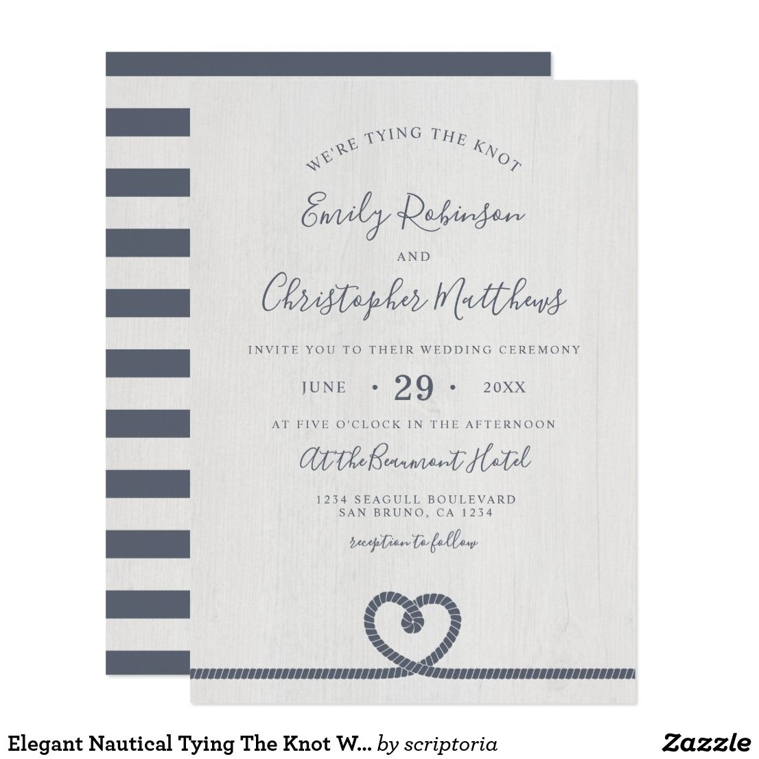 Elegant Nautical Tying The Knot Wedding Invitation Zazzle Com