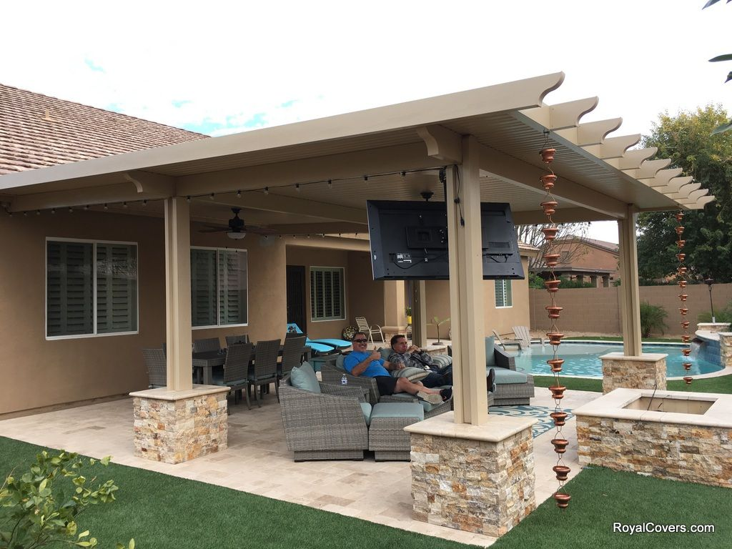 Solid Alumawood Patio Cover With Masonry Added Around The Footings