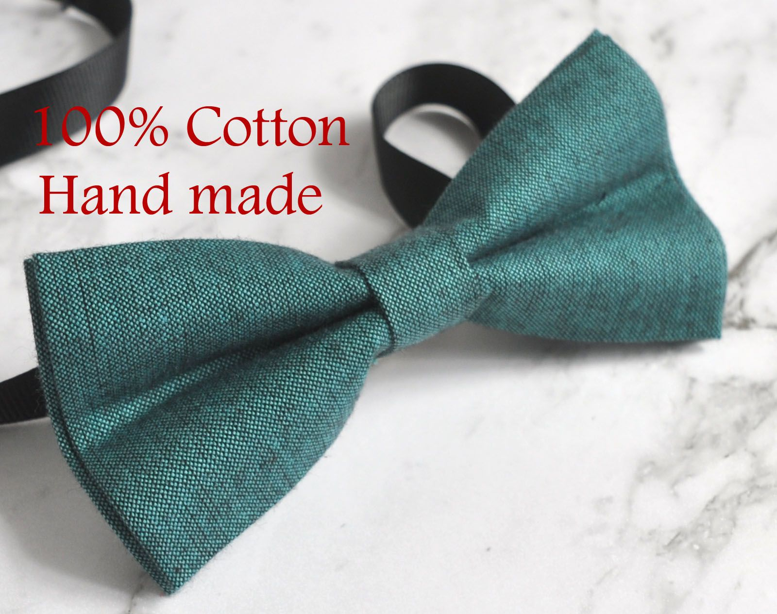Men Women Petrol Blue Grey 2 Layers 100/% Cotton Hand Made Bowtie Bow Tie Wedding