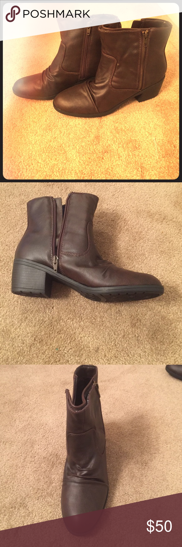 Life stride booties Dark brown w/ 1 & 1/2 inch heel Life Stride Shoes Ankle Boots & Booties