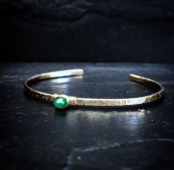 May Birthstone Genuine Colimbian Emerald sterling silver emerald gemstone Skinny Colombian Emerald Bracelet Stacking Bracelet