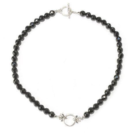 92 - Dallas Prince Designs Sterling Silver 18'' Black Onyx Toggle Necklace