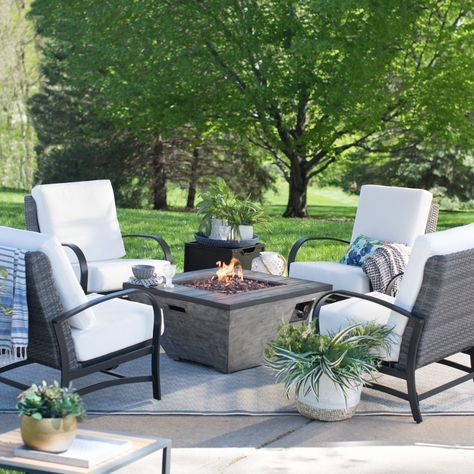outdoor belham living augusta fire pit conversation set with red rh pinterest com