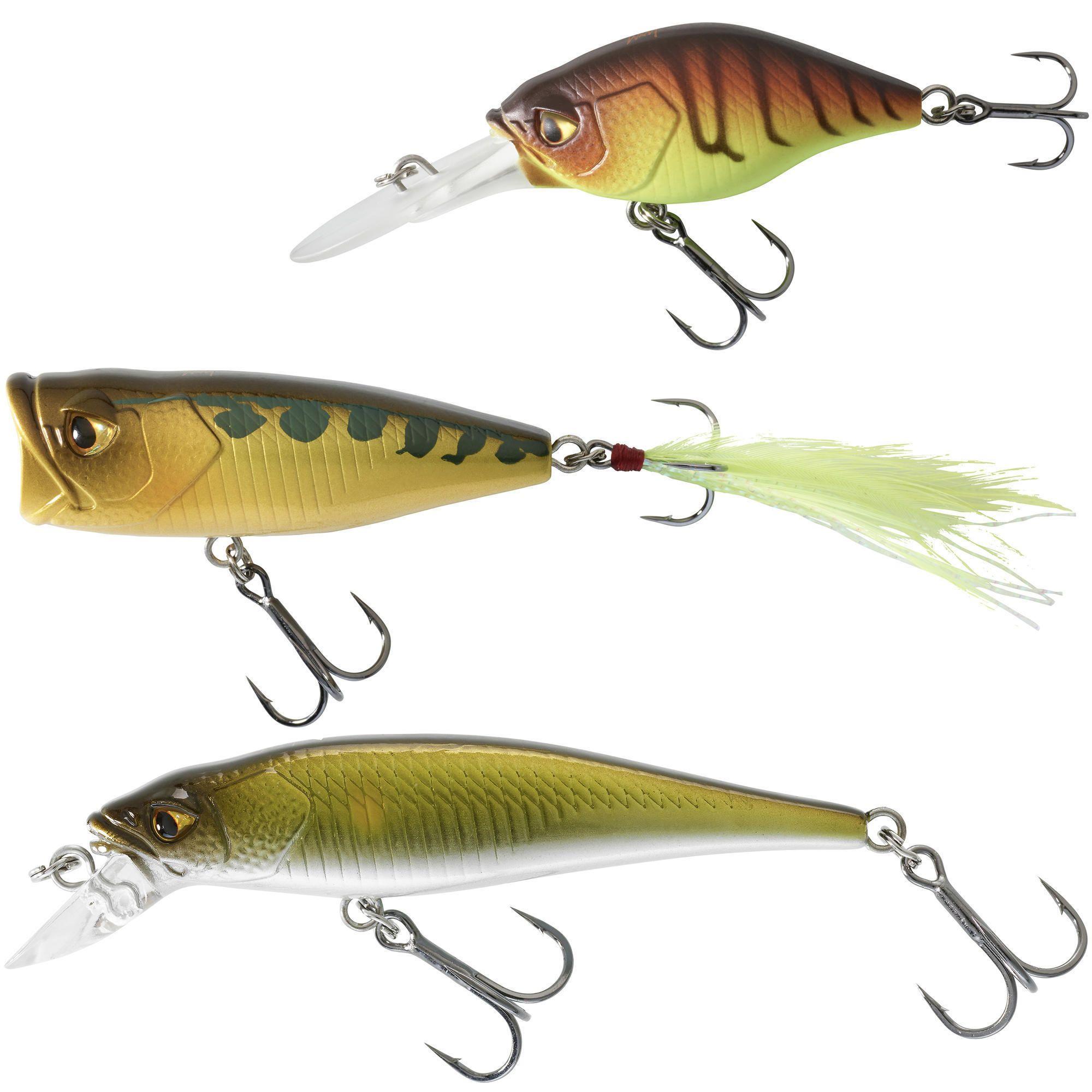 Caperlan - Hengelsport - Plug - Kunstvisjes popper minnow crankbait kunstaasvissen set baars 3 PN. Onze ontwerpers, zelf fervente vissers, hebben deze set kunstvisjes ontwikkeld voor het vissen op baars.