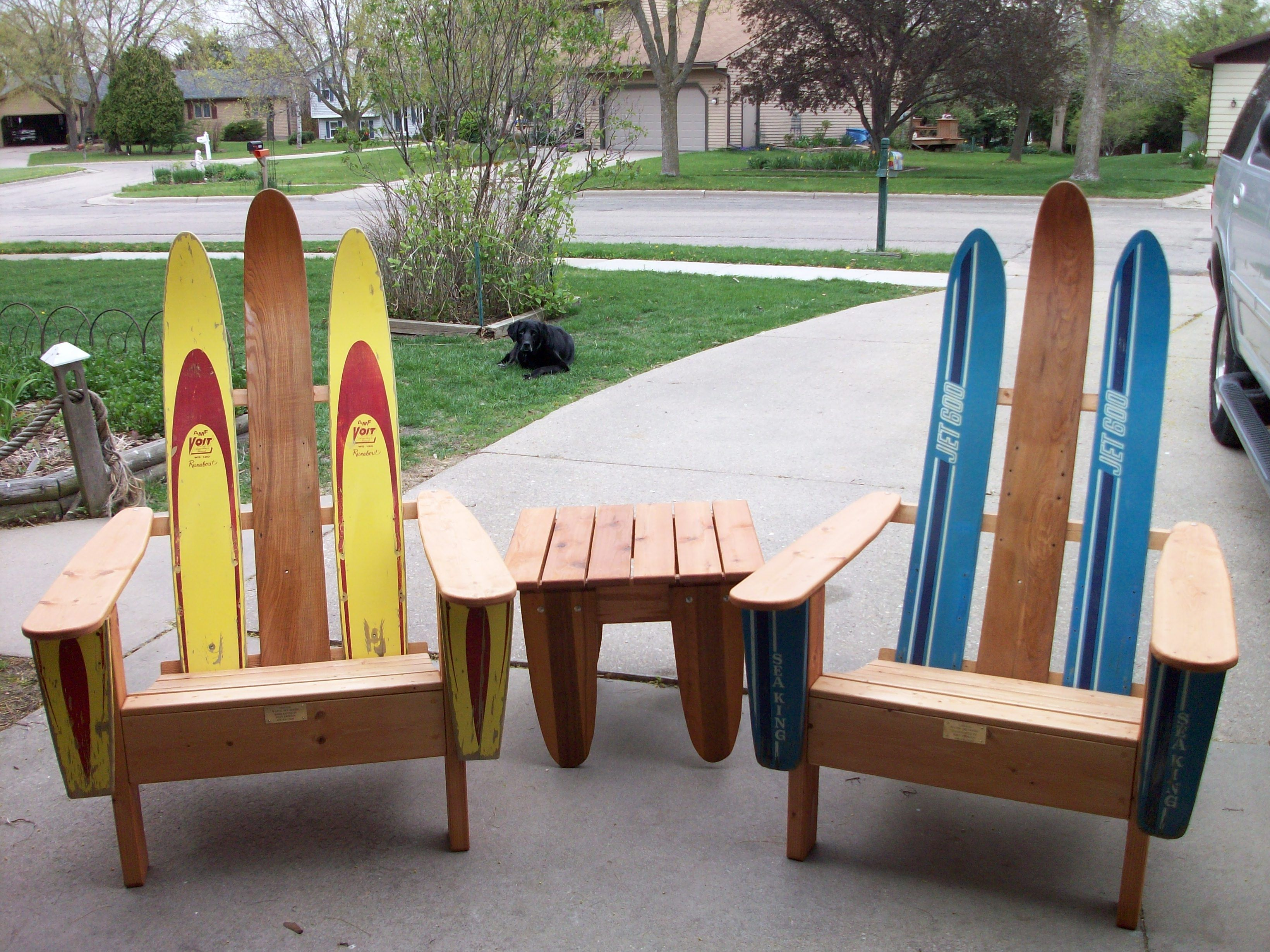 Vintage Wood Water Skis Made Into Outdoor Chairs With Matching