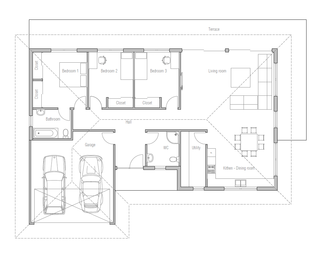small house design with open floor plan. efficient room planning