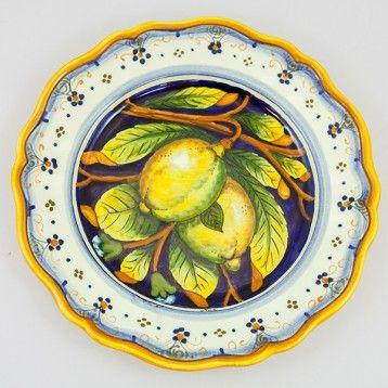 Ceramic Dinner Plate Lemon Pattern On A Blue Background