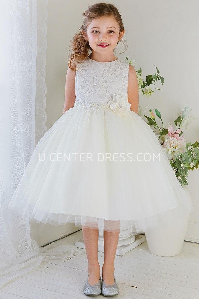 Floral tea length tiered tullelace flower girl dress lace 7775 angelic floral tea length tiered tullelace short white junior bridesmaid dress http ombrellifo Choice Image