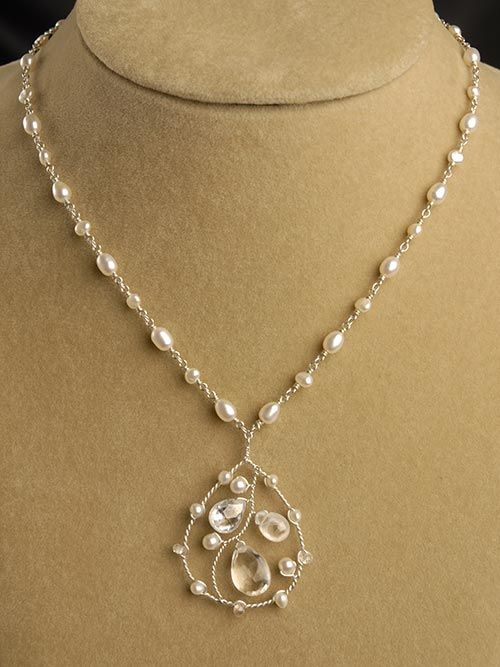 GORGEOUS!! ❥ Bridal Jewelry | White Topaz and Pearl Necklace | Handmade Jewelry ...and I love twisted wire designs.